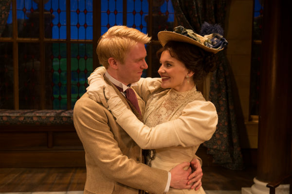Michael Benz as Jack and Emily Barber as Gwendolen in The Importance of Being Earnest at the Vaudeville Theatre, London's West End, July 2015