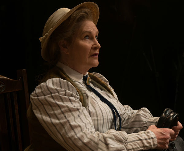 Michele Dotrice as Miss Prism in The Importance of Being Earnest at the Vaudeville Theatre, London's West End, July 2015
