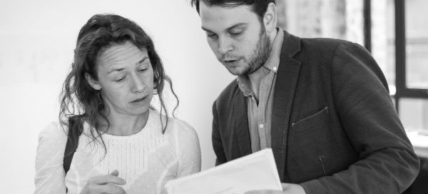 Barney Norris with Eventide cast member Ellie Piercy in rehearsals