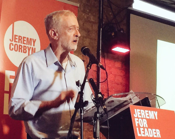 Jeremy Corbyn speaking at the Arcola Theatre, 1 September 2015