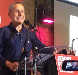 Comedian Jeremy Hardy, a regular on BBC Radio Four, also spoke on behalf of Corbyn last night