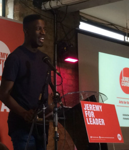 The Voice winner Jermain Jackman - and a former Corbyn constituent - helped introduce him at the arts event