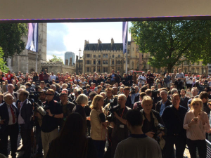 Crowds outside the Labour Party leadership announcement on Saturday