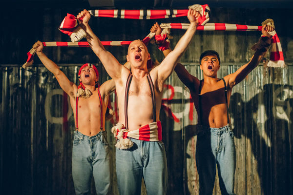 Jake Davies, Thomas Coombes and Josh Williams in Tooting Arts Club's production of Barbarians