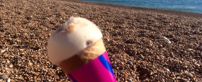 A brief moment's political respite: on the beach in Brighton