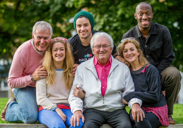 Leslie Bricusse (centre) with Pure Imagination cast (l-r) Dave Willietts, Julie Atherton, Niall Sheehy, Siobhan McCarthy and Giles Terera