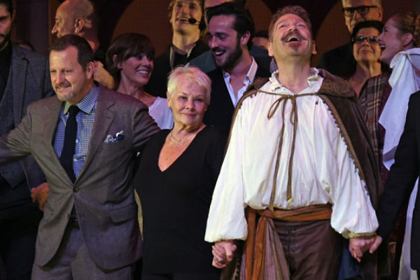 Judi Dench and Kenneth Branagh with co-director Rob Ashford and the company at the press day's final curtain call