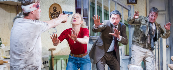 Erik Odom (Tim), Charlotte Parry (Tina), Dan Fredenburgh (Tom) and Stephen Tompkinson (Teddy) in Pig Farm by Greg Kotis @ St James Theatre. Directed by Katharine Farmer. (Opening 28-10-15) ©Tristram Kenton 10/15 (3 Raveley Street, LONDON NW5 2HX TEL 0207 267 5550  Mob 07973 617 355)email: tristram@tristramkenton.com