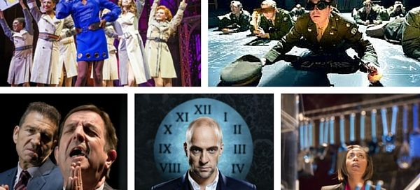 Clockwise from top left: Matt Henry in Kinky Boots, John Heffernan in Oppenheimer, Greg Hicks and Peter Bourke in Clarion, Derren Brown in Miracle and Noma Dumezweni in Linda