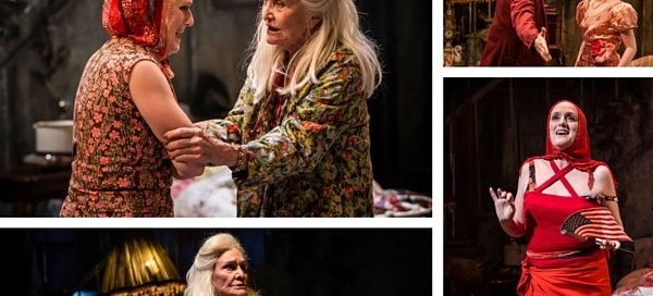 Grey Gardens at Southwark Playhouse. Clockwise from top left to right: Jenna Russell, Sheila Hancock, Aaron Sidwell, Rachel Anne Rayham, Jenna Russell, Sheila Hancock. © Scott Rylander