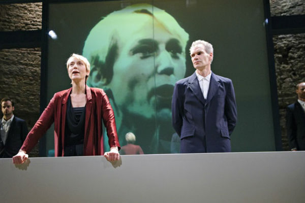Lia Williams and Angus Wright in Duncan Macmillan's reimagining of Oresteia