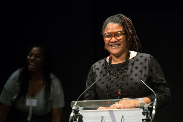 Lynn Nottage accepting the 2016 Susan Smith Blackburn Prize from judge Tanya Moodie. National Theatre, 22 February 2016