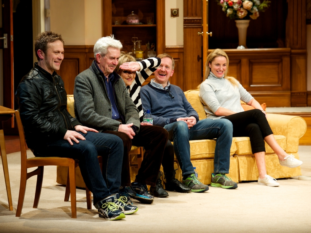Jason Merrells, Nicholas Le Prevost, Gillian Wright, Matthew Cottle and Tamzin Outhwaite at the How the Other Half Loves post-show Q&A