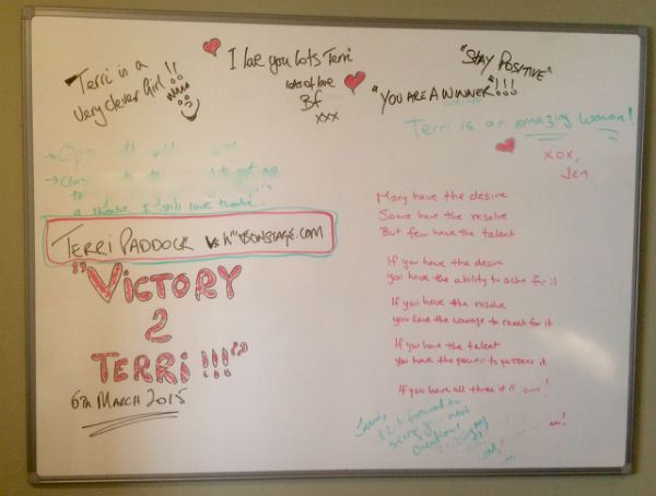 My partner and friends wrote messages to cheer me on during my long lawsuit