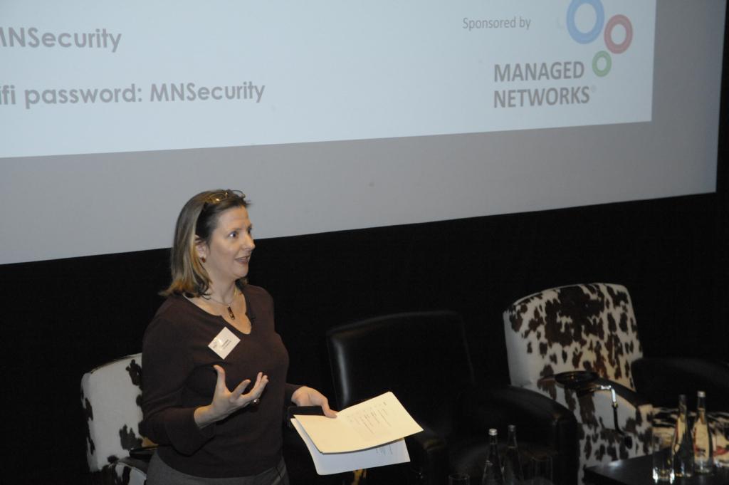Terri Paddock introducing Managed Networks theatre security seminar, 26 April 2016. © Debra Rapp