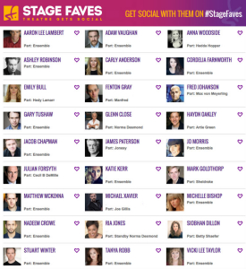 Get social media for the show and its cast on my site www.stagefaves.com