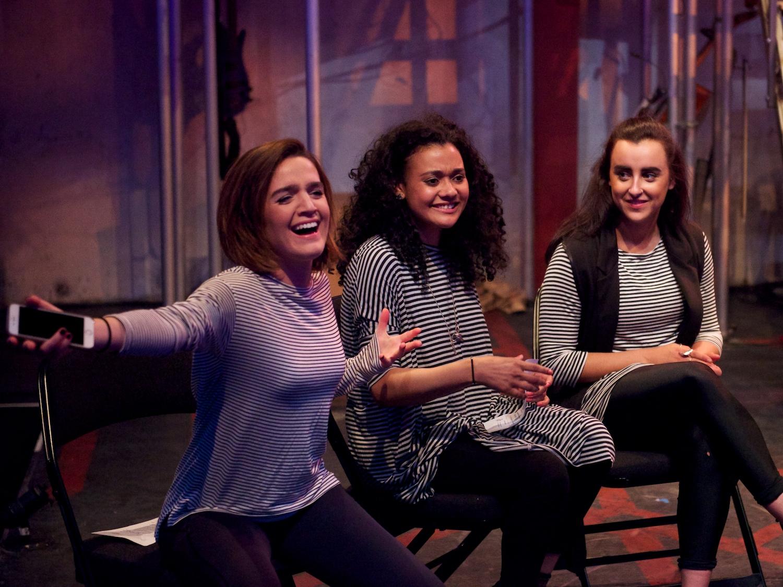 Cast Lauren Samuels, Natasha Cottriall and Maimuna Memon at the post-show Q&A