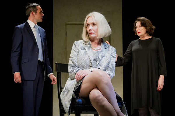 George Osborne (Steve John Shepherd) and Theresa May (Jane Wymark) argue free markets with Ayn Rand (Ann Mitchell) in David Hare's Ayn Rand Takes a Stand