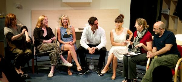 The cast of Some Girl(s) with director Gary Condes at post-show Q&A, chaired by Terri Paddock at Park Theatre