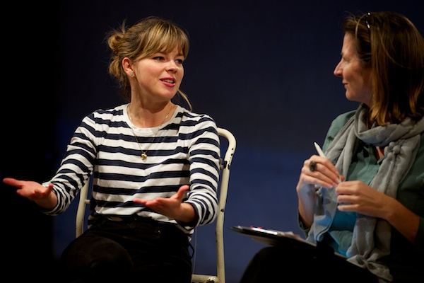 Playwright Elinor Cook at Pilgrims post-show Q&A at the Yard Theatre