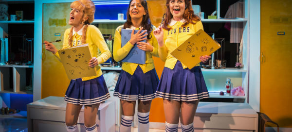 Starting out as cheerleaders: Lauren Samuels, Ashleigh Gray and Lizzy Connolly in Vanities at Trafalgar Studios. © Pamela Raith