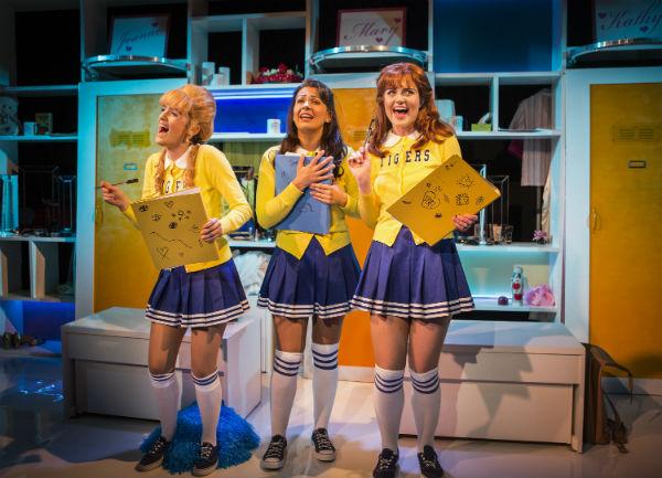 Starting out as cheerleaders: Lauren Samuels, Ashleigh Gray and Lizzy Connolly in Vanities at Trafalgar Studios. © Pamela Raith