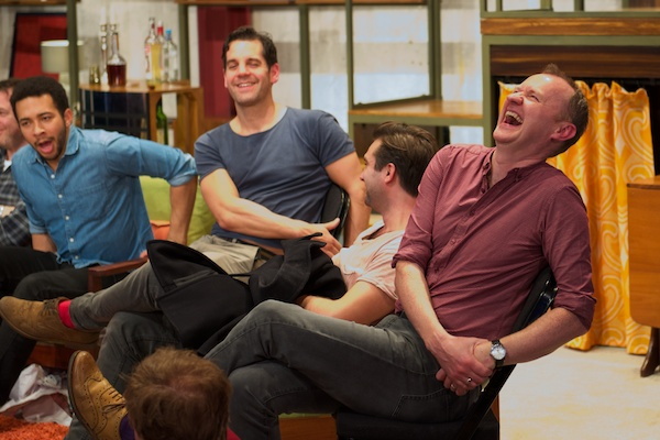 The Boys in the Band cast members Greg Lockett, John Hopkins, Ben Mansfield & Mark Gatiss reacting to another gem from playwright Mart Crowley