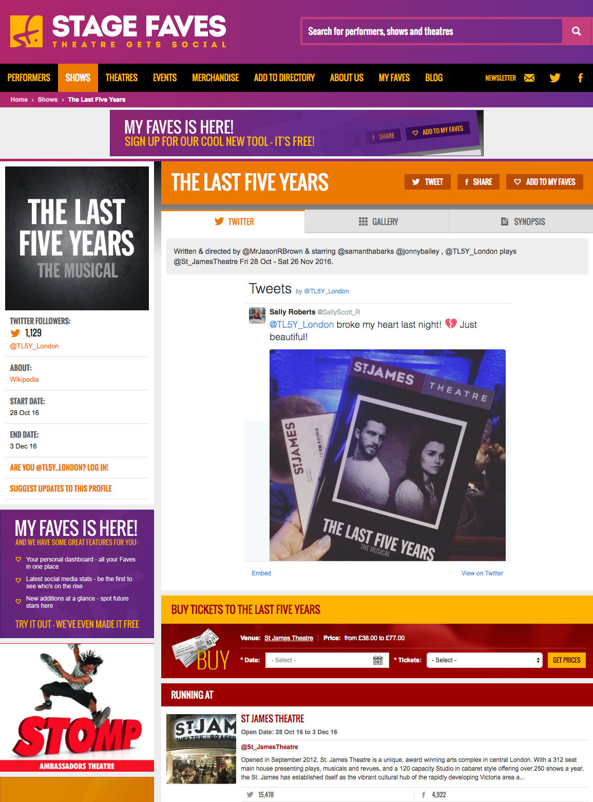 Get all social media for The Last Five Years & its stars on www.stagefaves.com