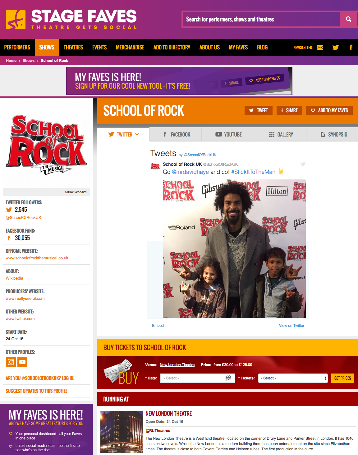 Get all social media for School of Rock & its cast on www.stagefaves.com
