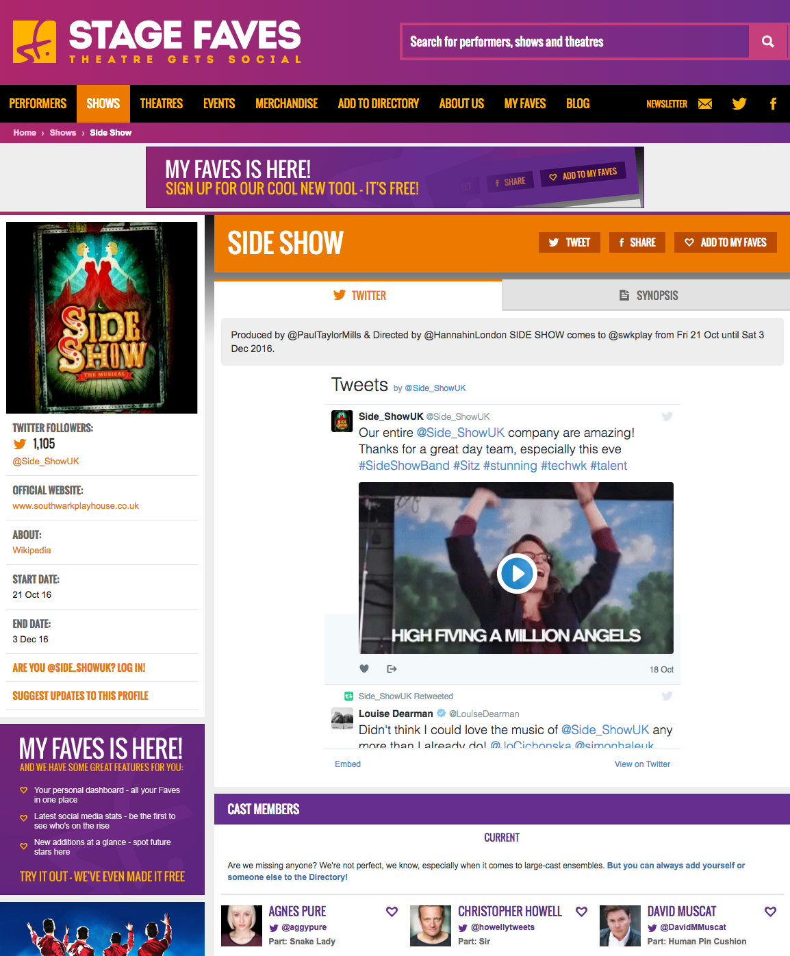 Get all show pics & social media for Side Show & its cast on www.stagefaves.com