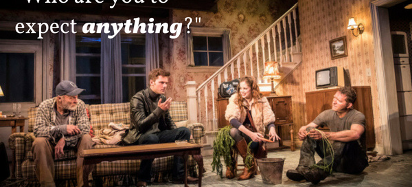 Ed Harris, Jeremy Irvine, Charlotte Hope & Barnaby Kay Ed Harris & Jeremy Irvine in Buried Child at London's Trafalgar Studios