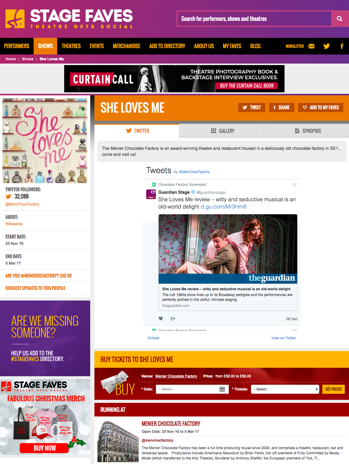 Get all social media (& show pics) for SHE LOVES ME & its cast on www.stagefaves.com
