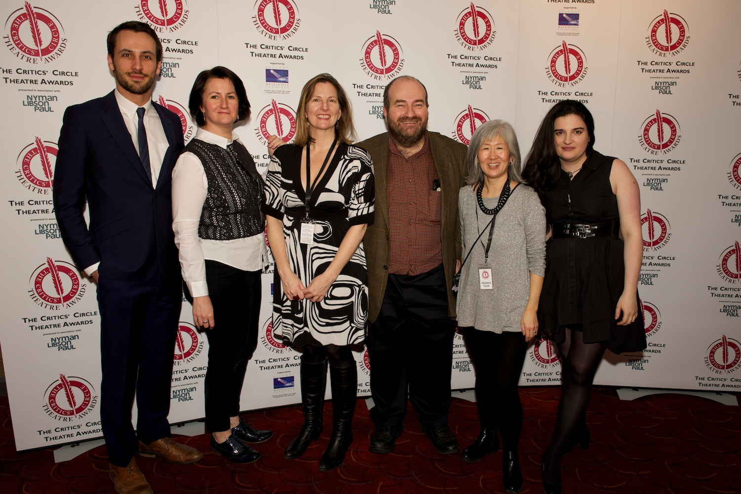 Me and Mark Shenton in the middle with some of our amazing Awards volunteers: James Lawrence, Claire Ackling, Tina Foote and critic Kate Maltby