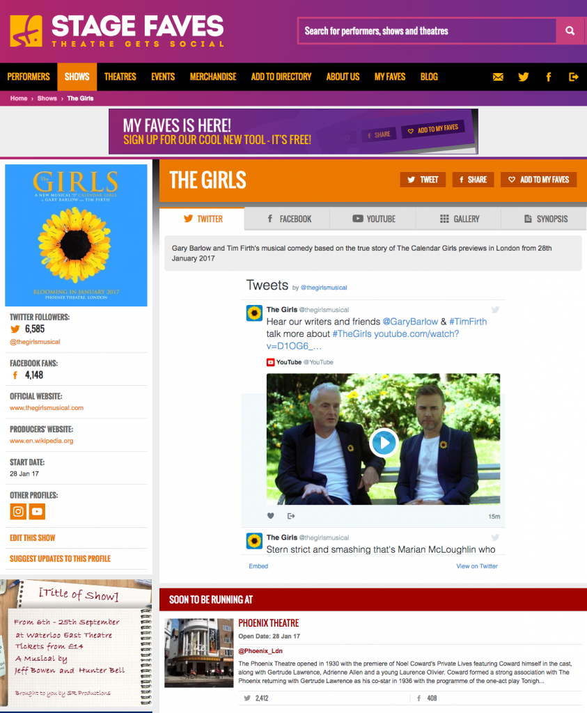 Get all social media (& show pics) for The Girls & its cast on www.stagefaves.com