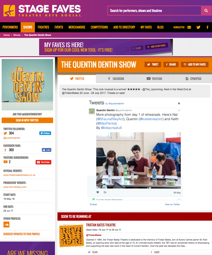 Get all social media for The Quentin Dentin Show & its cast on www.stagefaves.com