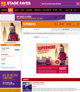 Get social media for Superhero & all other London musicals on www.stagefaves.com