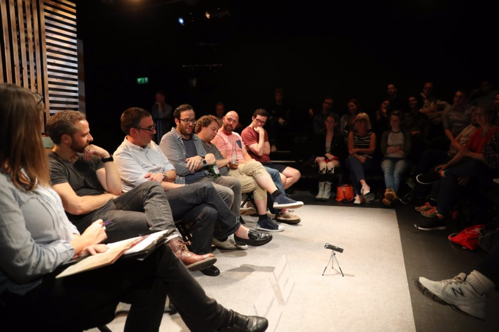 Discussing the creation of new British musical Superhero at post-show Q&A at Southwark Playhouse. © Anthony Kelly