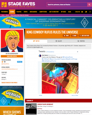 Get all social media for Cowboy Rufus & its cast on www.stagefaves.com