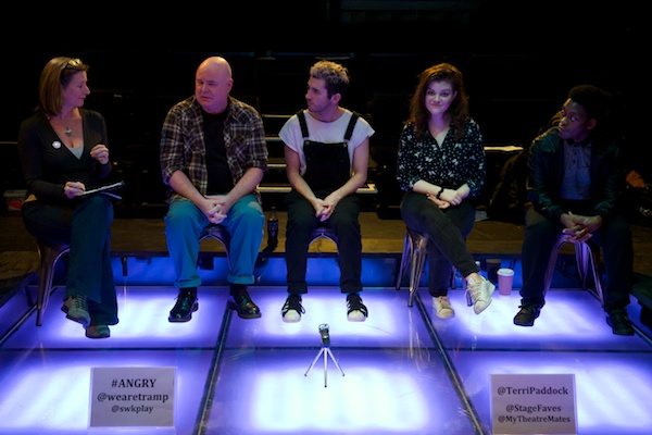 Philip Ridley, Max Lindsay, Georgie Henley & Tyrone Huntley at Angry's post-show Q&A on 21 February 2018 at Southwark Playhouse. © Peter Jones