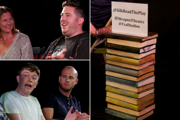 Terri Paddock with writer Alex Oates, star Josh Barrow & director Dominic Shaw at the Silk Road post-show Q&A at Trafalgar Studios, 13 August 2018. © Peter Jones