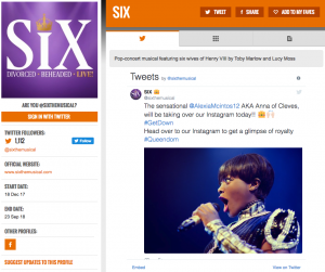 Get all social media for SIX & its cast on www.stagefaves.com
