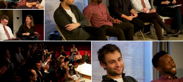 My post-show Q&A at A Guide for the Homesick with writer Ken Urban, director Jonathan O'Boyle & stars Douglas Booth & Clifford Samuel at London's Trafalgar Studios on 19 October 2018. © Peter Jones