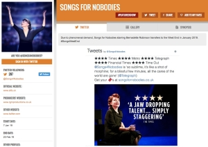 Get social for Songs for Nobodies on www.stagefaves.com