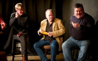 Biscuits discussed, biscuits served. Philip Reeve, Brian Mitchell & David Mounfield at my post-show Q&A for The Ministry of Biscuits at Barons Court Theatre. © Peter Jones