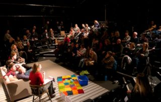 The open forum with cast, creatives and audience following a performance of All in Row at London's Southwark Playhouse on 21 February 2019. © Peter Jones