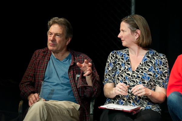 Michael Brandon (who plays Jorgy) with me at the Other People's Money post-show Q&A at Southwark Playhouse on 19 April 2019. © Peter Jones