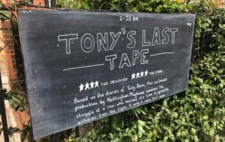 I revisited Tony's Last Tape for a post-show Q&A at Omnibus Theatre four year after the play changed my life