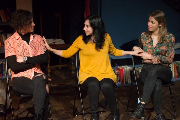 Raymi Ortuste, Denise Despeyroux & Maite Jauregui at The Reality post-show Q&A at Cervantes Theatre. © Peter Jones