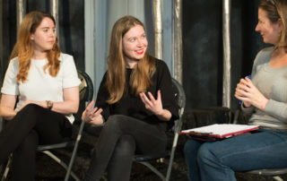 Hannah & Rachel Tookey at the Bromley Bedlam Bethlehem post-show Q&A at the Old Red Lion Theatre. © Peter Jones