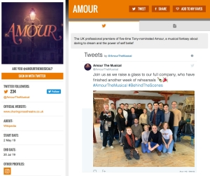 Get social with Amour & its cast on www.stagefaves.com